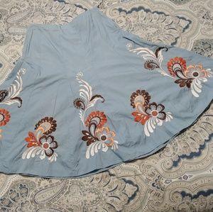 Sunny Leigh Blue Flowy Midi Skirt